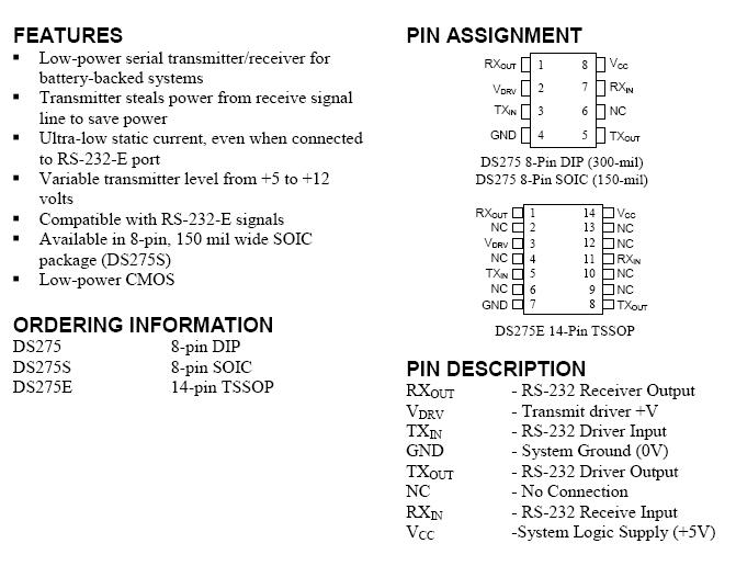 Datasheet DS275 производства Dallas.
